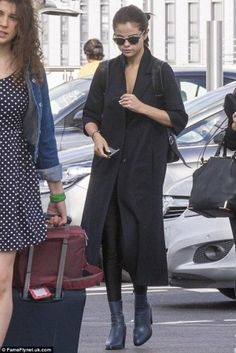 Selena Gomez wearing Etnia Barcelona Wla Africa07 Sunglasses, Topshop Magnificent Sock Boots in Blue, Topshop Boutique Tailored Duster Coat and American Apparel Nylon Tricot High-Waist Leggings