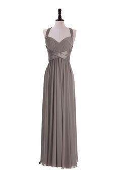 Ohhh not gonna lie this is pretty if they did navy and grey and the guys could wear navy ties.....Crinkle Chiffon Halter Gown For Bridesmaids