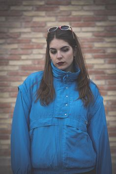 By MaletaVintageClothes on Etsy:  Unisex Blue Windbraker 80s Vintage, Colmar Snow jacket, hipster unisex coat for winter, fluffy anorak for men or womens, convertible vest jacket.