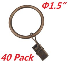 """T O K G O 40-pack Copper Metal Curtain Rings with Clips (1.5"""", Copper)"""