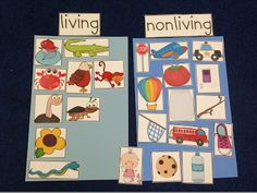 Living vs non-living with printable pictures