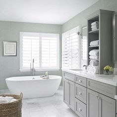 Get inspired by Traditional Bathroom Design photo by Krista Watterworth Design Studio. Wayfair lets you find the designer products in the photo and get ideas from thousands of other Traditional Bathroom Design photos. Beach Bathrooms, Grey Bathrooms, Bathroom Renos, Master Bathrooms, Seafoam Bathroom, Bathroom Vanities, Cozy Bathroom, Bathroom Colors, Coastal Bathrooms