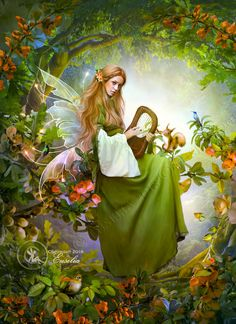 All Rights Reserved. My artwork may not be edited or modified in any way! (no crop, edit, tube. Song of a fairy Fairy Paintings, Fantasy Paintings, Fantasy Artwork, Fairy Pictures, Angel Pictures, Beautiful Fantasy Art, Beautiful Fairies, Magical Creatures, Fantasy Creatures