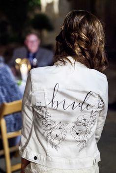 Jeans Wedding, Wedding Jacket, Monogram Jacket, Flower Jeans, Painted Denim Jacket, Wedding Goals, Wedding Ideas, Diana, White Bridal