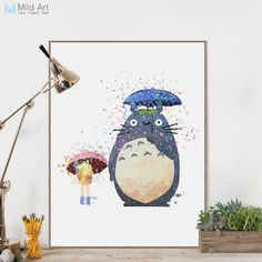 Watercolor Miyazaki Japanese Anime Movie Canvas A4 Art Print Poster Kawaii Totoro Wall Picture Kids Room Decor Painting No Frame