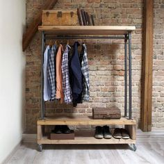 Nene Industrial Style Wooden Metal Clothes Rail Rack Stand Rustic Retro Vintage Industrial Style Clothing Storage Unit This clothing unit has a great industrial look and simple stylish storage solution for hanging clothes and. Vintage Industrial Furniture, Industrial Chic, Industrial Storage, Industrial Clothes Rail, Industrial Style Bedroom, Industrial Closet, Industrial Bookshelf, Industrial Windows, White Industrial