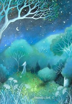 Illustration Moon A fairytale art print . by Amanda Clark. Art And Illustration, Landscape Illustration, Fantasy Kunst, Fantasy Art, Fantasy Landscape, Landscape Art, Illustrator, Clark Art, Fairytale Art