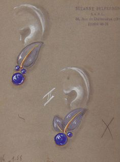 Design for earrings by Suzanne Belperron