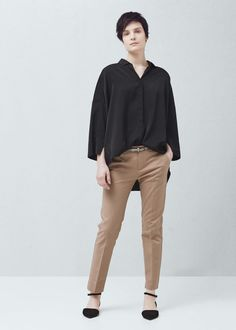 Belt cotton-blend trousers - Trousers for Woman | MANGO Canada