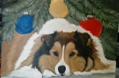 Sheltie on framed canvas 11x14