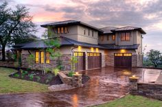 Hill country contemporary Front Garage