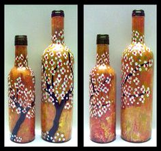 From Bottles Not Empty!  Gorgeous #hand-painted #wine #bottles #recycled