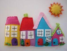 cute felt houses