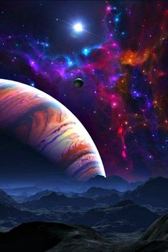 Digital art mountains, planet and colorful stars. Stunning painting inspiration.