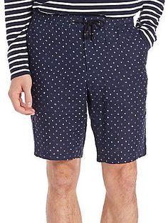 Michael Kors Batik Diamond-Print Linen Shorts - Midnight - Size