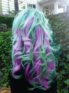 violet and teal pastel hair - Hairstyles and Beauty Tips - Adore this colour combo. would be a pain to maintain though