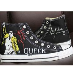 Freddie Mercury High Top Converse Shoes High Top Converse Outfits, Converse Shoes, Converse High, Converse Chuck Taylor 2, Painted Converse, Galaxy Shoes, Custom Converse, Freddie Mercury, Top Shoes