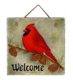Country Welcome Slates | cardinal slate hand painted winter scene w cardinal slate plaque w ...