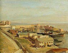 Peinture d'Algérie -  Peintre Français, Maxime NOIRÉ(1861-1927), huile sur panneau, Titre : Vue du port d'Alger.