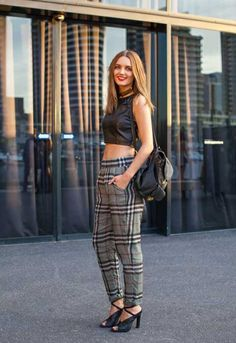 'This babe is taking the tartan/leather combo smoothly into Spring at #MelbourneFashionFestival