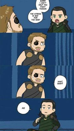love how Thor got legitimately concerned and turned to the camera likeBen from P&R ?cuz it wouldn't be a surprise if Loki was pregnant. Thor X Loki, Marvel Art, Marvel Dc Comics, Marvel Heroes, Marvel Avengers, Baby Avengers, Funny Marvel Memes, Marvel Jokes, Dc Memes