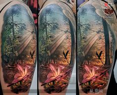 Pink Lily Forest Scene http://tattooideas247.com/pink-lily-forest-scene/