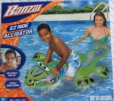 "Banzai Ez Ride Alligator Inflatable Pool Float Toy Nib 50"" 3+ Summer Lake Water #Banzai"