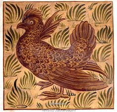 Guinea Fowl tile design, by William De Morgan (1839-1917). Watercolour. England, 19th century.