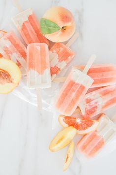 Summer peach popsicle: http://www.stylemepretty.com/living/2016/08/25/how-to-make-the-perfect-summer-popsicle-at-home/ Photography: Monika Hibbs - http://monikahibbs.com/
