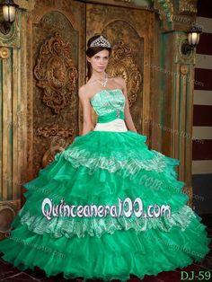 Grass Green Strapless Appliques Multi-tiered Ruffles Sweet 15 Dress