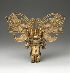 Figure Pendant Date: 10th–16th century Geography: Colombia Culture: Tairona Medium: Gold Dimensions: H. 5 1/2 in. (14 cm) Classification: Metal-Ornaments