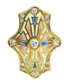 An 18 Karat Yellow Gold, Diamond and Plique a Jour Enamel Pendant,  attributed to Masriera, in an openwork rectangular design with central and terminal convex curves, accented with polychrome enamel accents, containing 13 round brilliant cut diamonds weighing approximately 0.30 carat total.