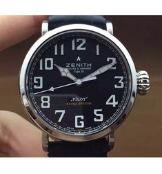 Zenith Pilot Extra Special SS/LE Black Dial on Black Leather Strap