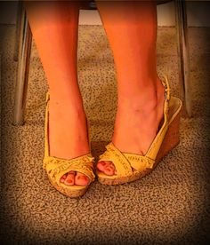 yellow girlie wedges perfect for a summer date