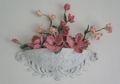 White Wall Decor Bowl Basket Crown Shabby Chic by shabbykisses, $48.00