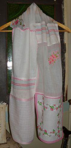 Long Vintage Scarf Pink Hankies