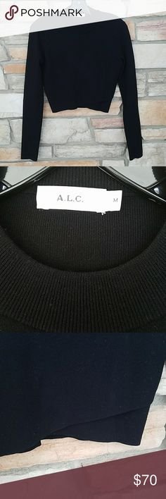 """A.L.C BLACK CROP TOP NWOT This is amazing, just bought it, but I don't think CROP tops are me. Never worn, but took tags off. 15""""shoulder 24""""arm 17""""L Super cute asymmetrical bottom hem. FABRIC IS VERY  HIGH QUALITY. A.L.C. Tops"""