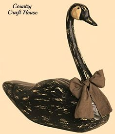 New Primitive Country Rustic Carved Wood LARGE BLACK GOOSE Duck Swan Decoy #Country