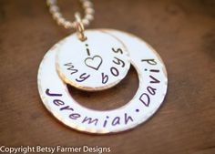 I Love My Boys - Hand Stamped Jewelry - Mommy Necklace - I heart my boys - Sterling Silver - Mom of Boys - Made to ORDER. $42.00, via Etsy.