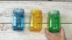 tinted mason jars food coloring and mod podge..,bake it!