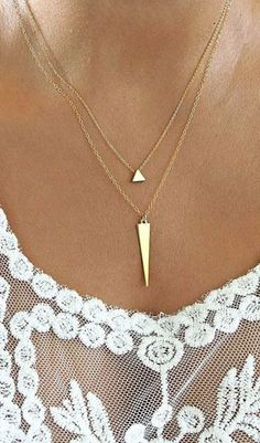Layered Necklace Set Geometric