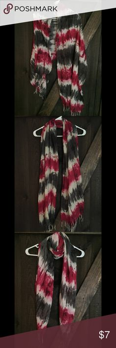 Tie dye scarf wrap Tie dye style scarf wrap with gray, cream and magenta/maroon tones. Large enough to wear as a light shawl/shrug/wrap. Tasseled tie dye ends. Breezy, light fabric. Excellent condition. Accessories