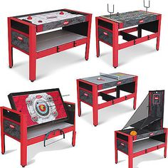 Table Game 5 In 1 Board Game Hockey Tennis Fling Football Archery Basketball New