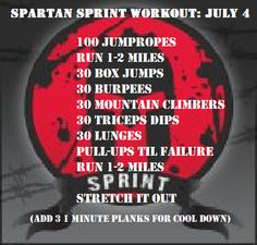 Spartan Sprint daily workout July 4