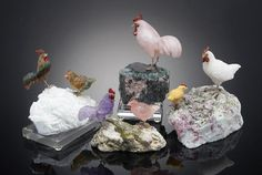 Four Multi-gemstone Carvings of Chickens