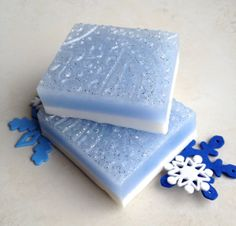 First Frost Winter Soap Bar, Glycerin Soap, Fresh Air, Spring Water Ice, Heliotrope Soap, Holiday Soap, Blue Glitter