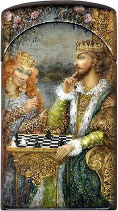Chess Fedoskino 2005 Shapkin Oleg/Kareva Galina
