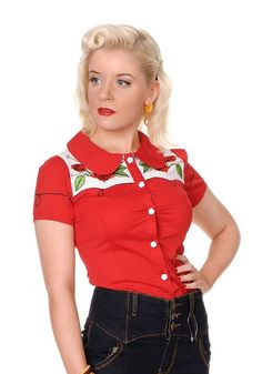 Cowboy Roses Embroidery Shirt from Collectif