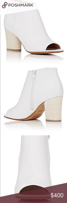 "New MAISON MARGIELA White peep-toe ankle boots 6 Maison Margiela's white smooth leather peep-toe ankle boots feature an exposed side zip closure. A signature style for the brand, these minimalist shoes are designed with a tapered block heel and comfortable cushioned insole Size 36. US 6 New. No Box   3""heel (approximately). Peep toe. Signature white basting stitch at counter. Stacked tapered block heel. White hardware. Exposed side zip closure. Lined with smooth leather. Leather sole. Made…"