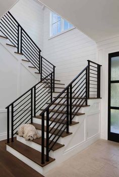 33 Ultimate Farmhouse Staircase Decor Ideas And Design - Backyard Decoration Outdoor Stair Railing, Staircase Railing Design, Modern Stair Railing, Wrought Iron Stair Railing, Modern Stairs, Staircase Ideas, Rod Iron Railing, Stair Case Railing Ideas, Staircase Decoration
